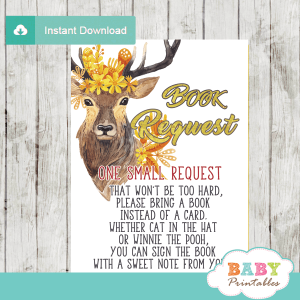 golden yellow fall mums deer baby shower book request cards invitation inserts