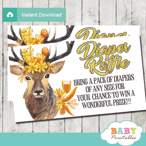 gold yellow autumn fall mums deer diaper raffle tickets