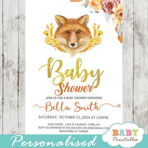 autumn woodland fox baby shower invitations