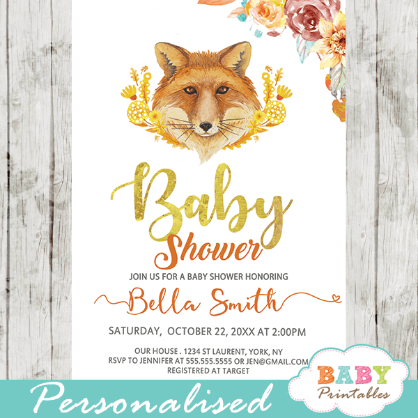 autumn woodland fox baby shower invitations