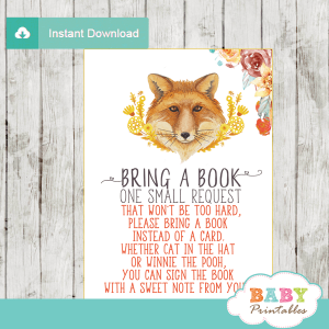 fall mums fox book request cards autumn theme gender neutral
