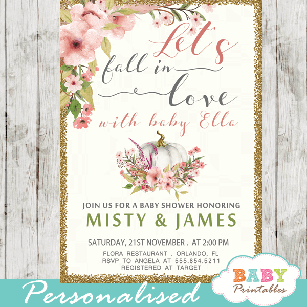 autumn fall in love baby shower invitations little pumpkin blush pink girl