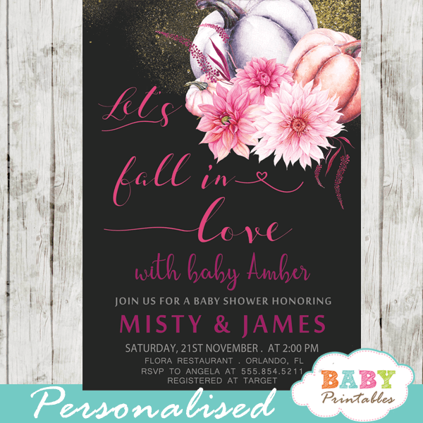autumn let's fall in love baby shower invitations little pumpkin fuchsia pink girl