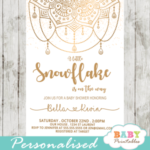 golden snowflake mandala baby shower invitations gender neutral winter unity spiritual symbolism