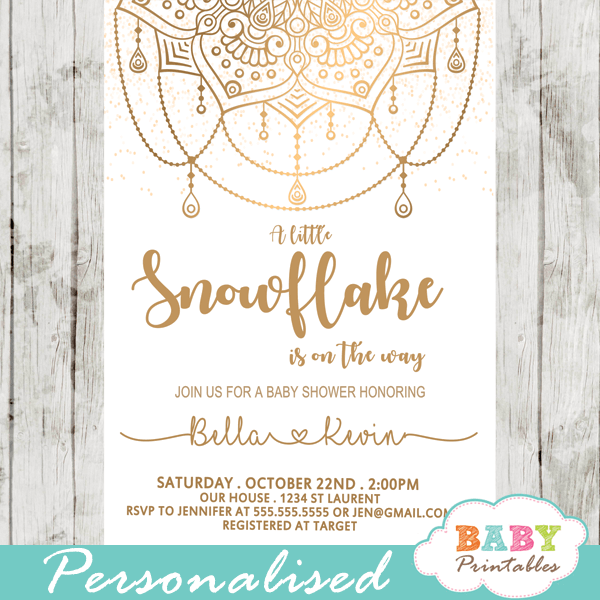 Gold Snowflake Mandala Baby Shower Invitations - D406