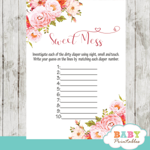 watercolor pink roses floral baby shower games spring theme sweet mess