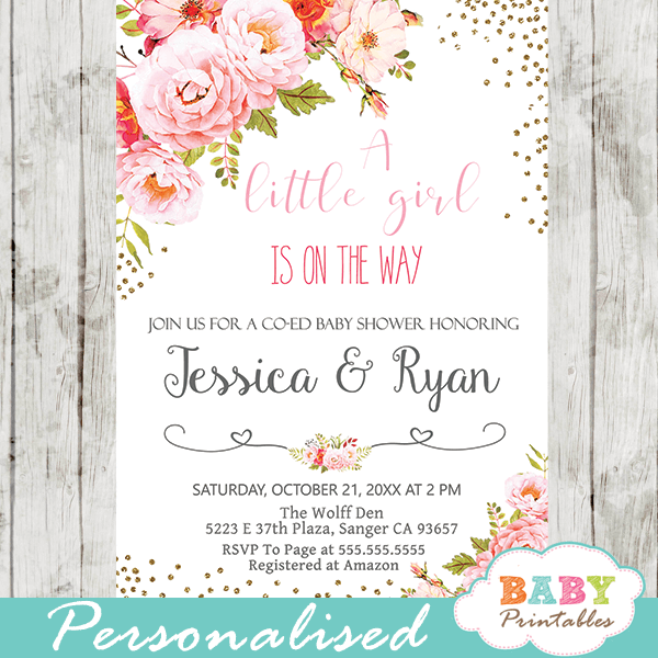 Pink Roses Floral Baby Shower Invitations D309 Baby Printables
