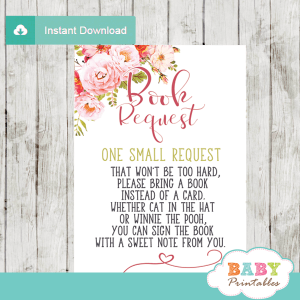 pink roses floral book request cards invitation inserts boho elegant