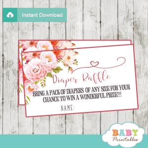 watercolor pink roses diaper raffle tickets boho girl