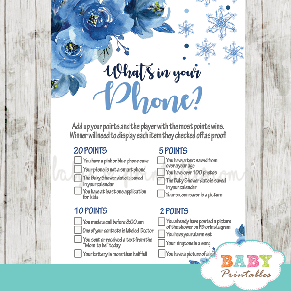 snowflake baby shower games winter wonderland blue flowers watercolor boy