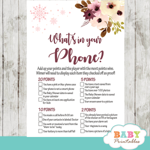 winter wonderland snowflake baby shower games winter wonderland blush bordeaux flowers watercolor girl
