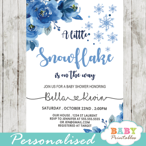 snowflake baby shower invitations winter blue silver gray boy wonderland