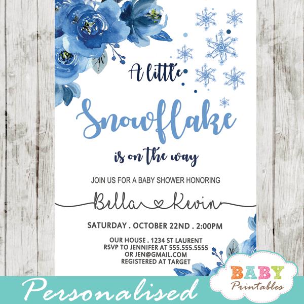 snowflake baby shower invitations winter blue silver gray boy wonderland