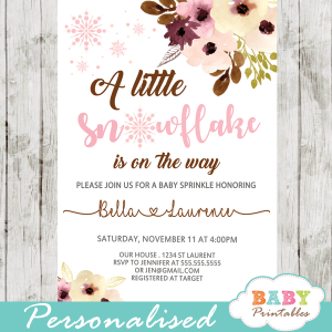 winter snowflake baby shower invitations blush peach Bordeaux flowers girl baby shower