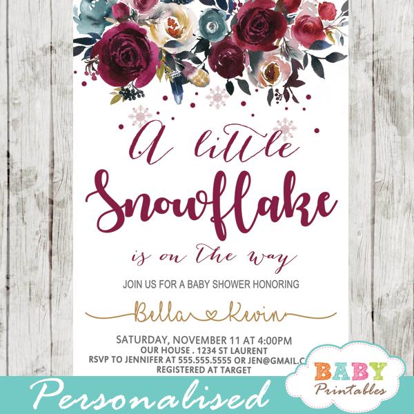 winter snowflake baby shower invitations burgundy silver gold flowers girl