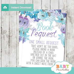 snowflake baby shower invitation inserts winter book request cards turquoise purple