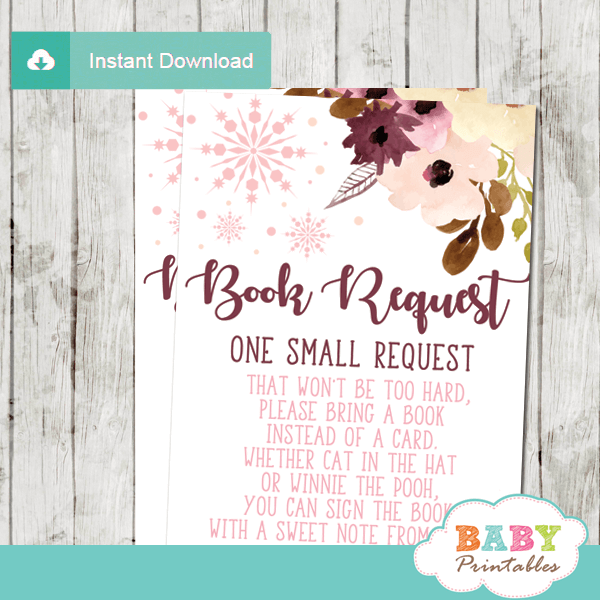 blush bordeaux winter snowflake book request cards baby girl shower invitation insert