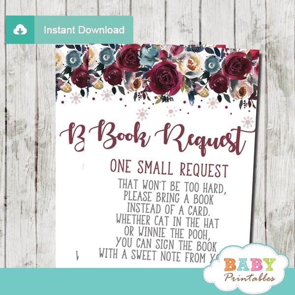 winter wonderland snowflake bok request cards floral invitation inserts burgundy silver gray girl