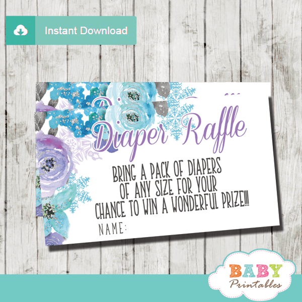winter snowflake diaper raffle tickets hand drawn watercolor pink turquoise flowers