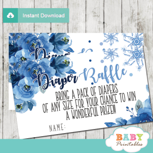 winter snowflake diaper raffle tickets hand drawn watercolor blue flowers boy