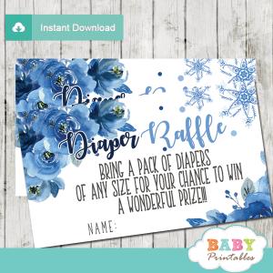 winter snowflake diaper raffle tickets hand drawn watercolor blue flowers boy
