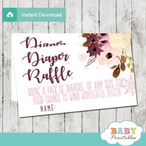 winter snowflake diaper raffle tickets hand drawn watercolor bordeaux blush peach flowers girl