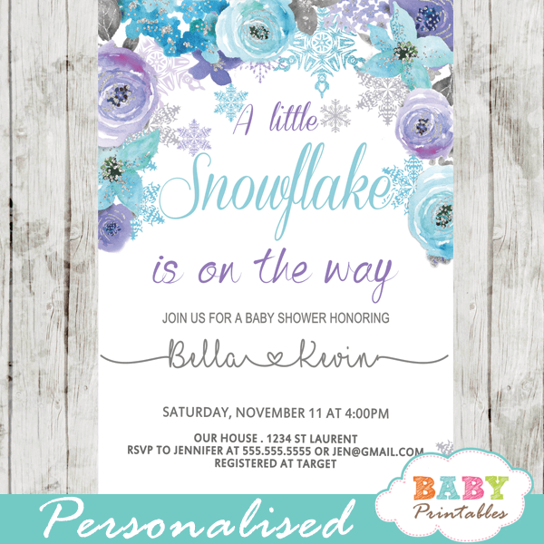 snowflake baby shower invitations purple turquoise flowers winter invites
