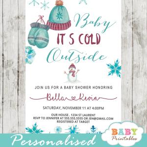 vintage winter wonderland baby shower invites baby it's cold outside invitations boy