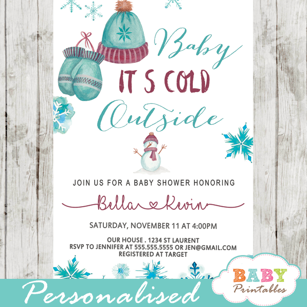 Vintage Winter Baby Shower Invitations
