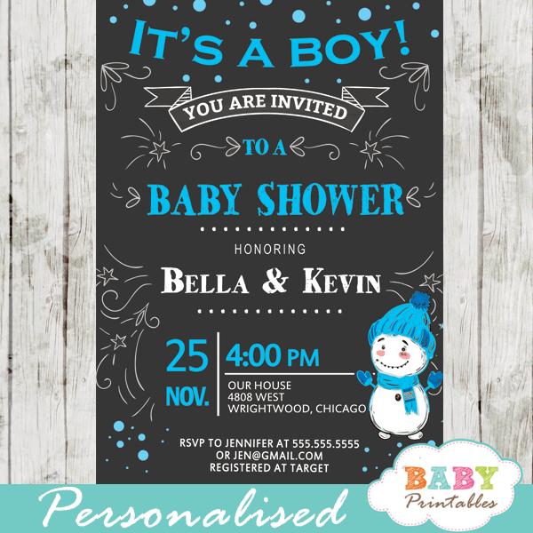 winter wonderland baby shower invitations blue boy snowman snowflake
