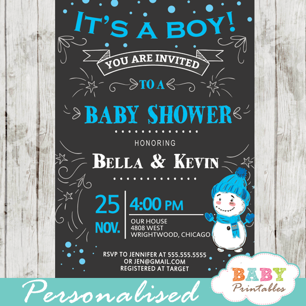 winter wonderland baby shower invitations blue boy snowman snowflake