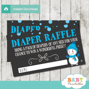 winter wonderland diaper raffle tickets baby it's cold outside baby shower boy blue white black