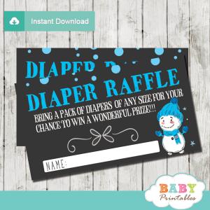 winter wonderland diaper raffle tickets baby it's cold outside baby shower boy blue white black