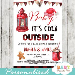 winter wonderland invites baby it's cold outside baby shower invitations buffalo plaid Christmas holiday boy
