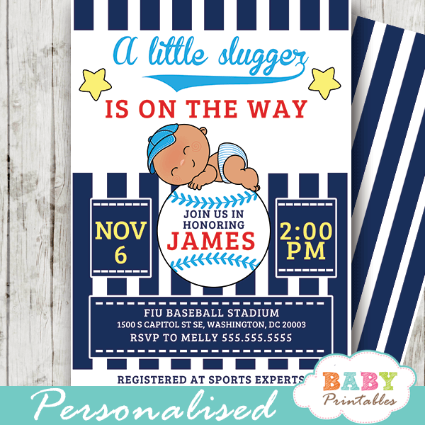 Blue Baseball Baby Shower Invitations D390