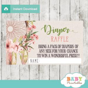 floral boho dream catcher diaper raffle tickets girl pink peach green feather