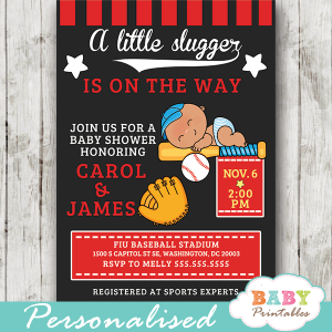 baseball invitations for baby shower all star boy little slugger