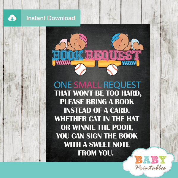 baseball gender reveal book request cards all star sports invitation inserts