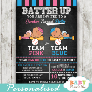 team pink or team blue baseball gender reveal invitations sports batter up