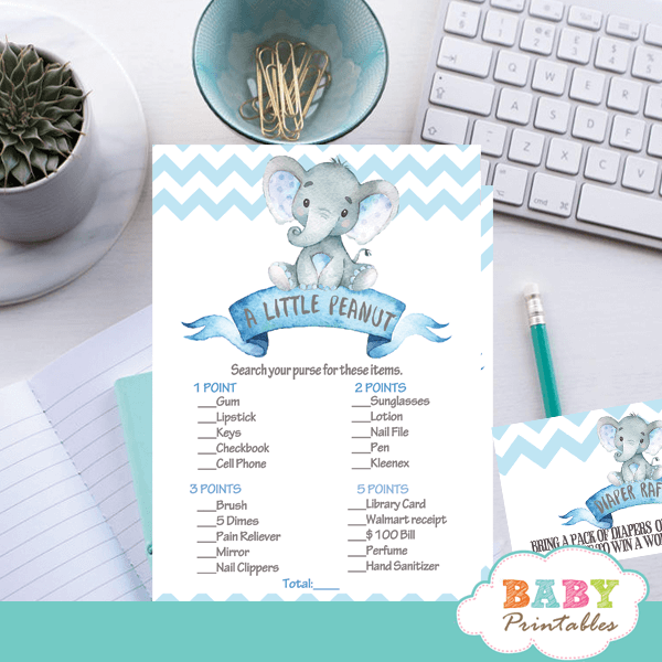 """Pink Elephant Chevron Baby Shower /""""Guess How Many?/"""" Game Cards Printable"""