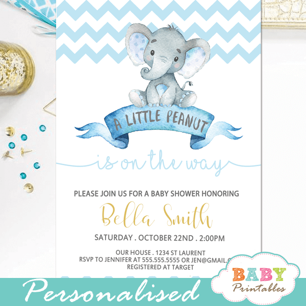 Chevron Blue Elephant Baby Shower