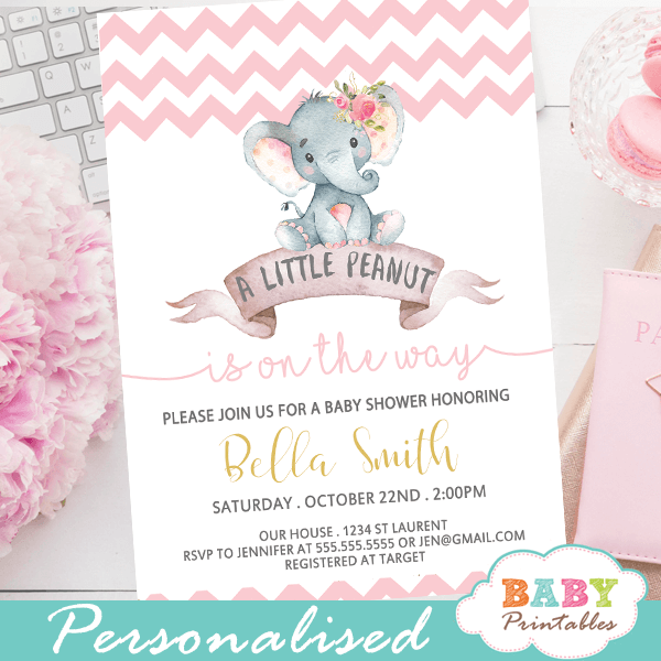 Chevron Pink Elephant Baby Shower Invitations Girl D433 Baby