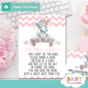 girl elephant book request cards pink and gray invitation inserts