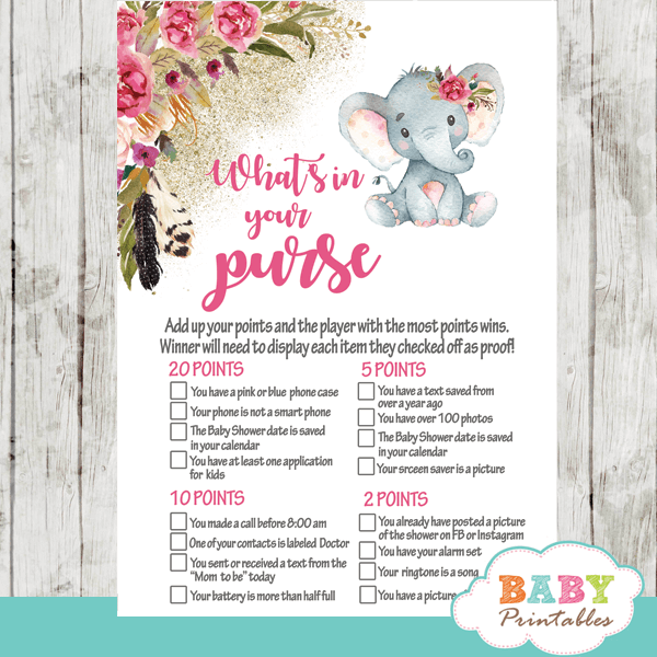 boho pink floral elephant baby shower games girl feathers little peanut