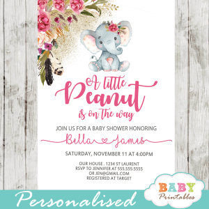 little peanut elephant baby shower invitations girl floral pink boho feather gold sprinkle