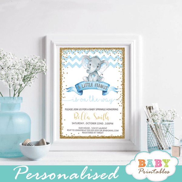 elephant baby sprinkle invitations boy chevron blue and gold glitter