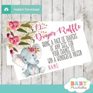 boho floral elephant diaper raffle tickets pink girl gold glitter little peanut
