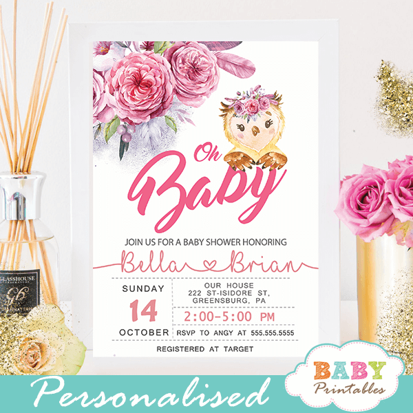 pink and gray baby shower invitations with owl girl flowers