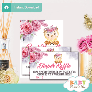 floral pink and gray owl diaper raffle tickets girl baby shower