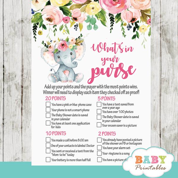 pink elephant baby shower games girl little peanut blush flowers roses